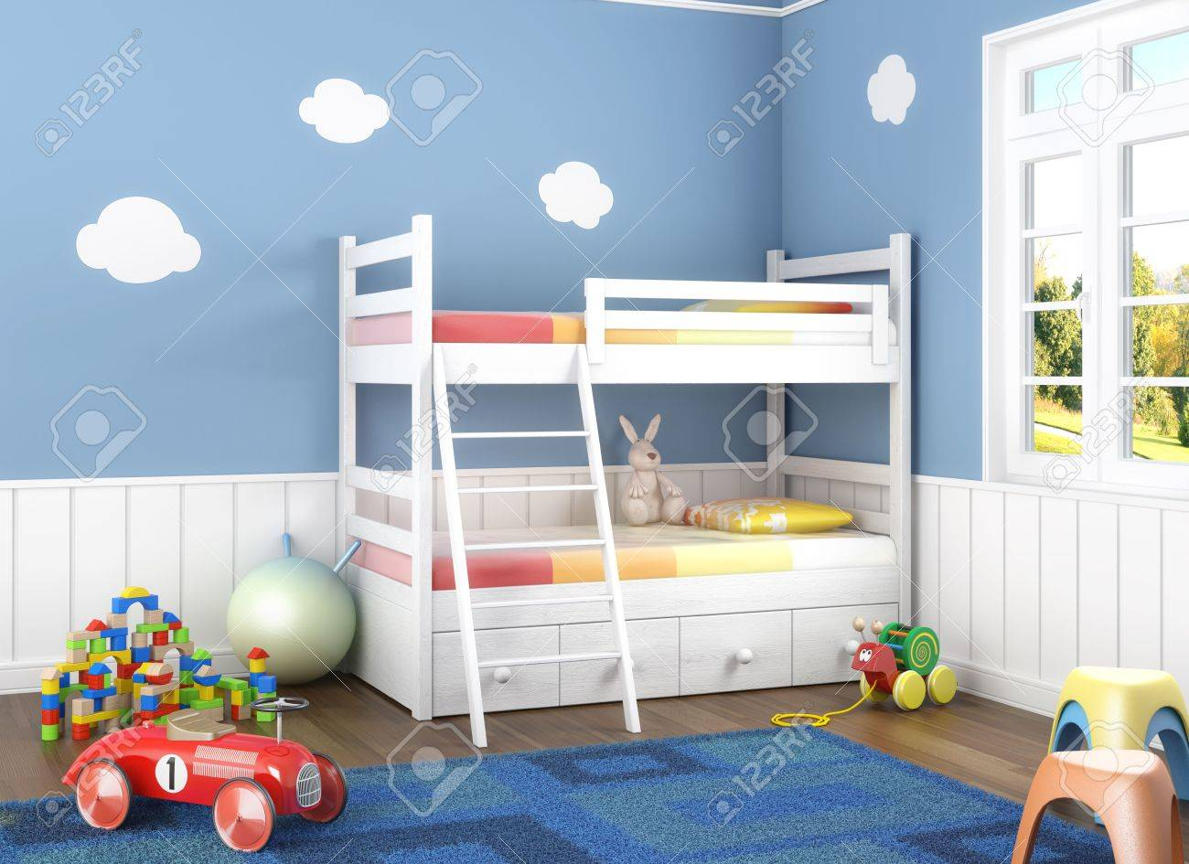 Children´s  room in blue walls with litter and lots of toys on the floor Stock Photo - 8163611