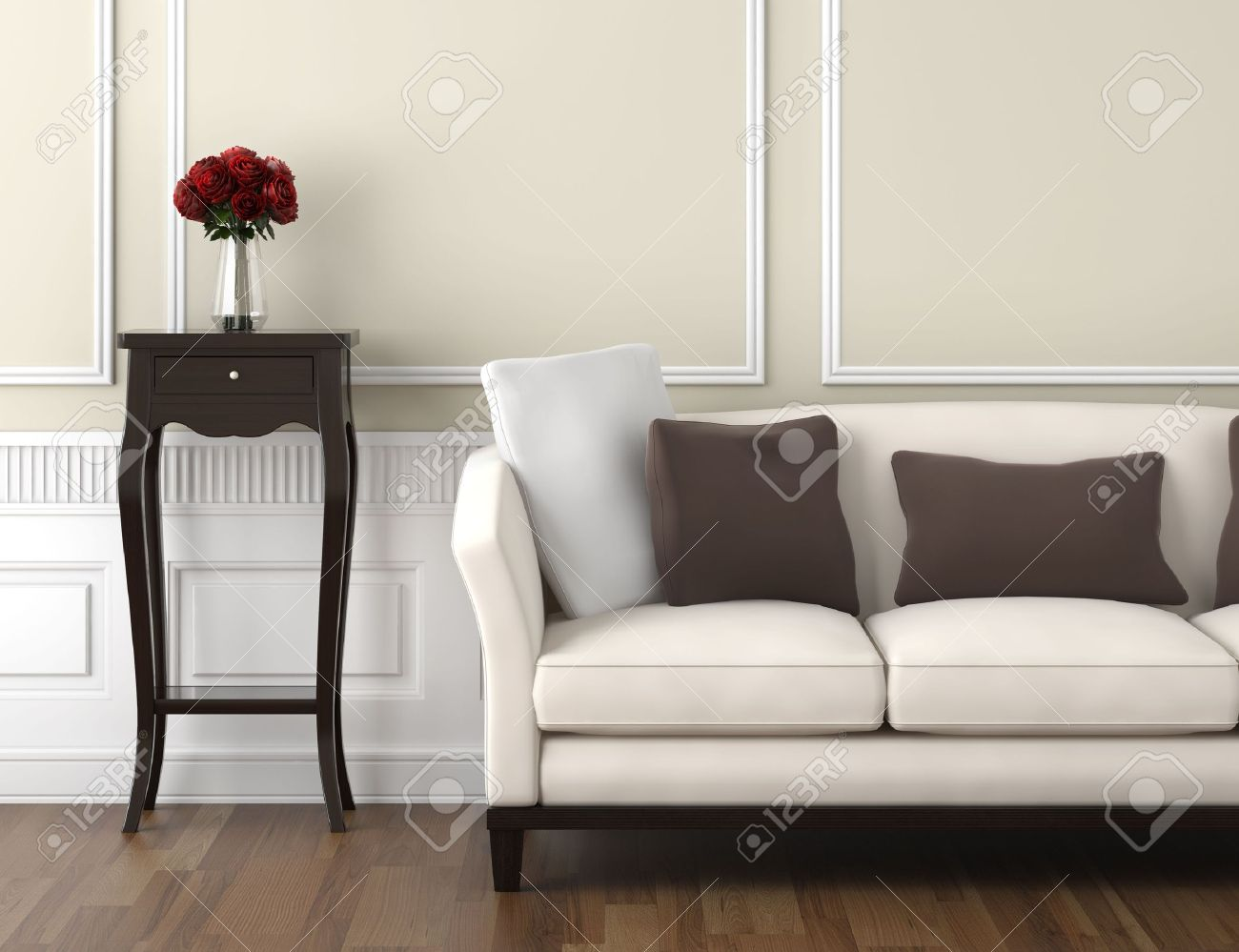 Interior Design Of Classic Room In Beige And White Colors With Couch Table