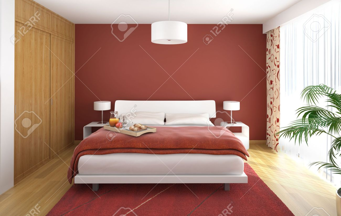 interior design of modern bedroom in red white and wood with a big window on the right Stock Photo - 8163609