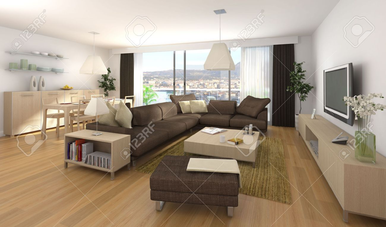 Interior Design Szene Der Moderne Apartment Mit Wohnzimmer Und Esszimmer In Holz Braun Farben