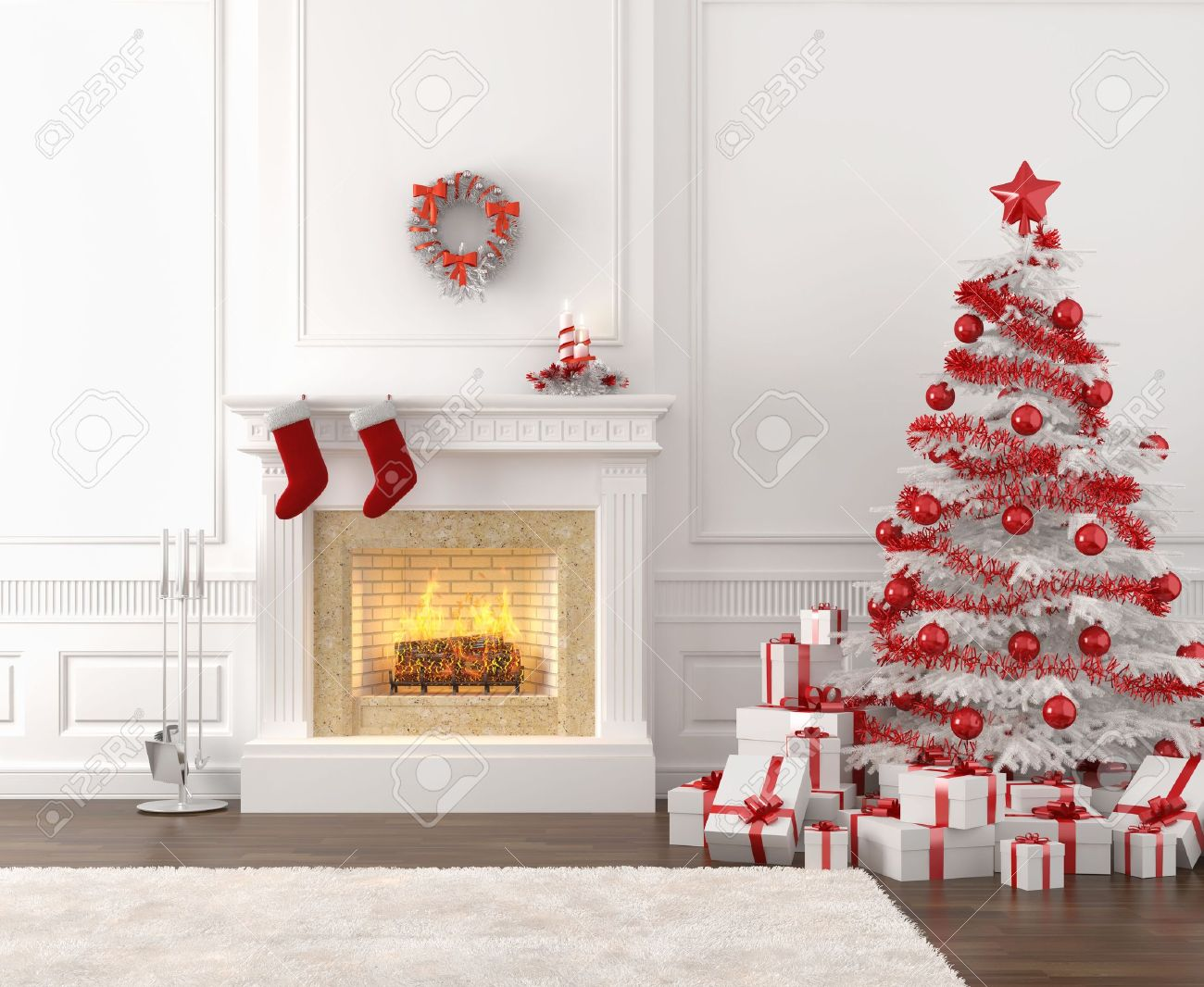 Modern Style Interior Of Fireplace With Christmas Tree And Presents ...