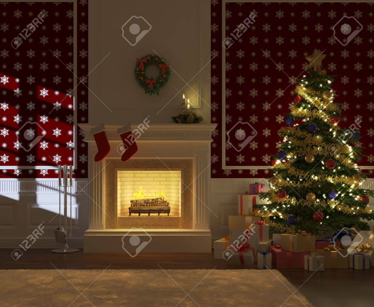 cozy decorated christmas fireplace at night with tree and presents frontal view Stock Photo - 8163619