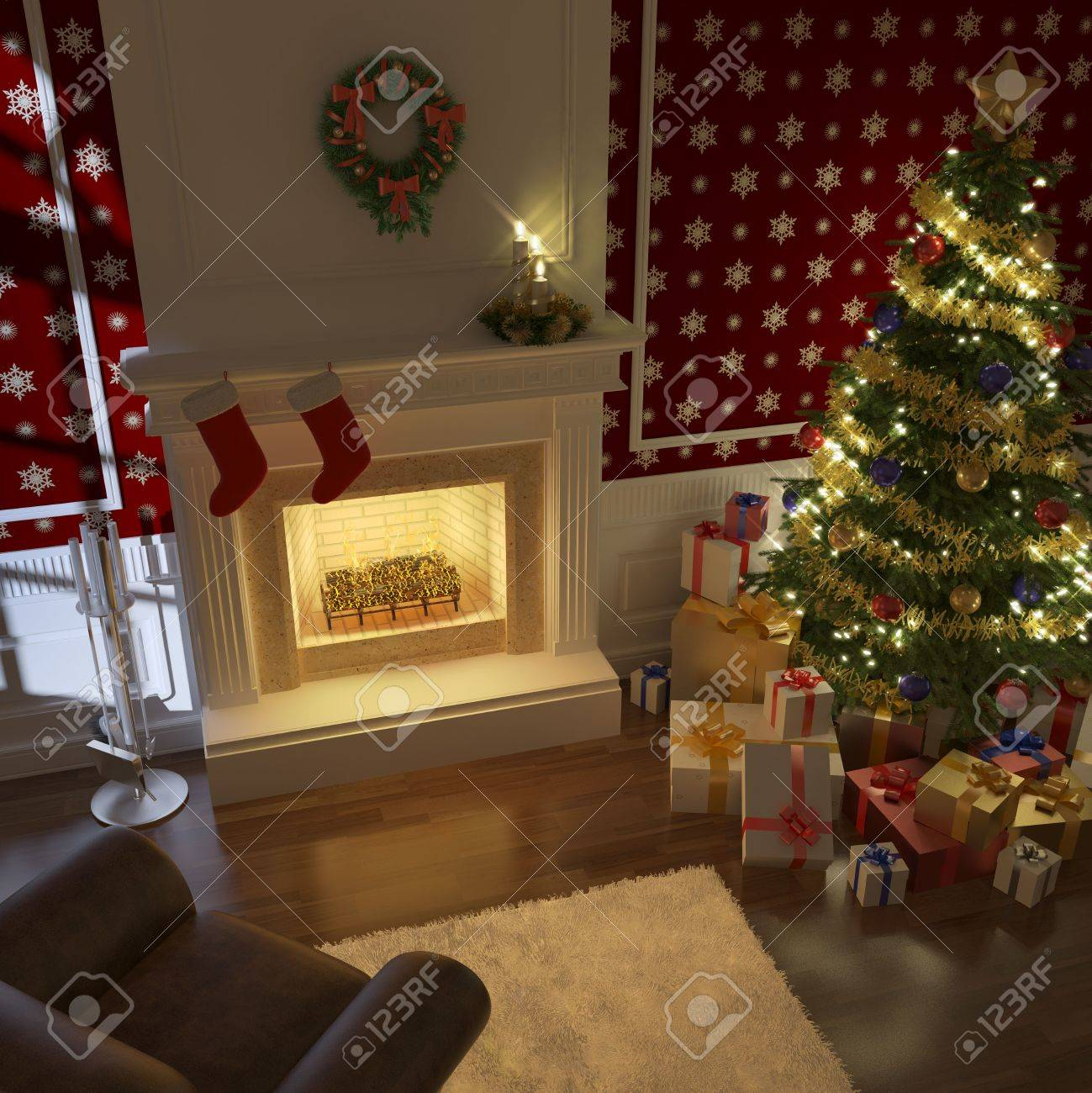cozy decorated christmas fireplace at night with tree, presents and couch Stock Photo - 8163624