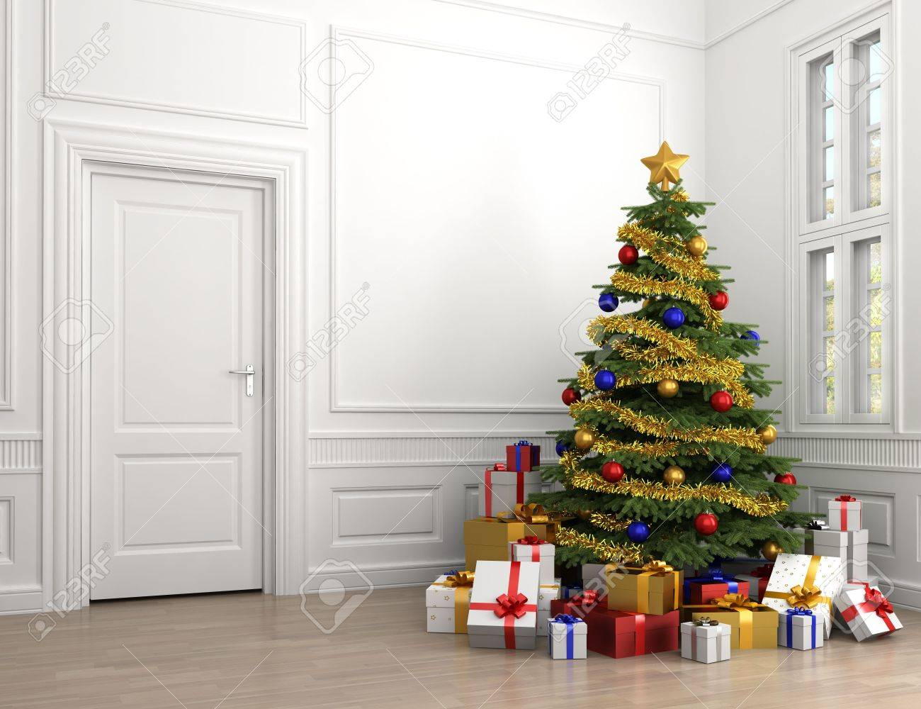 Decorated Christmas Tree With Lots Of Presents In An Empty White ...