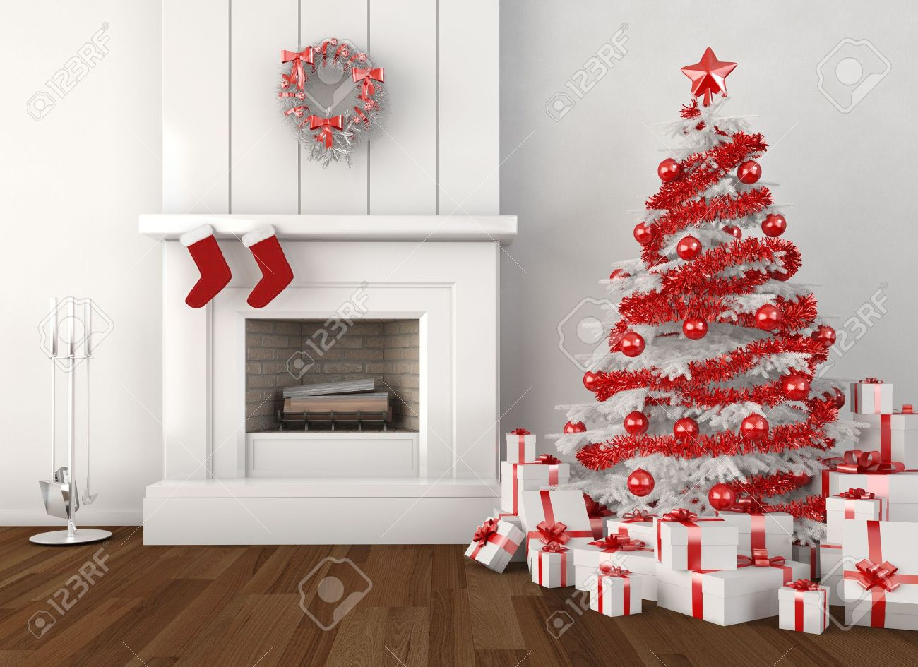 modern home interior with fireplace and christmas tree in white and red colors Stock Photo - 8163626