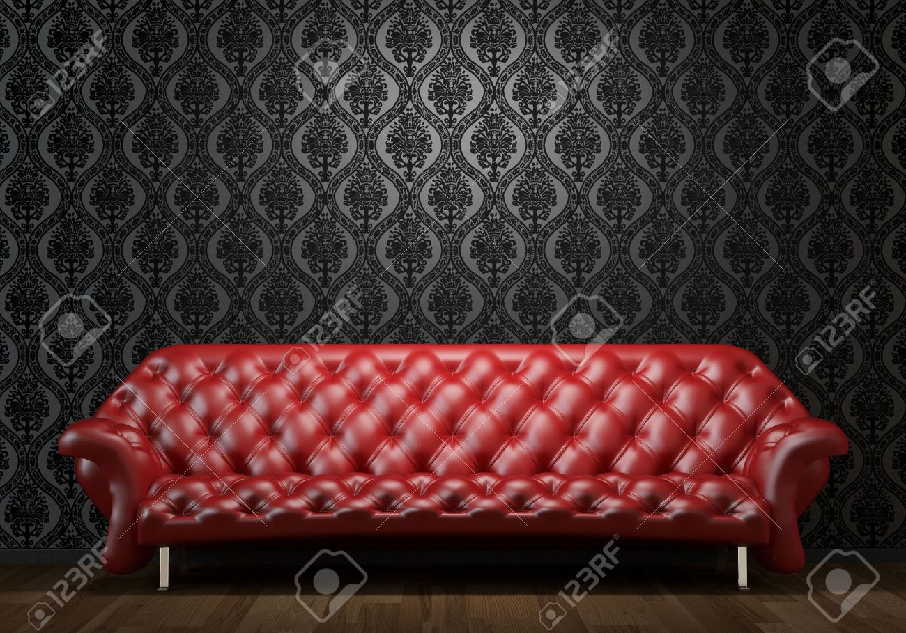 interior design scene of red leather couch on black wall illuminated from abobe by spotlight Stock Photo - 8163628