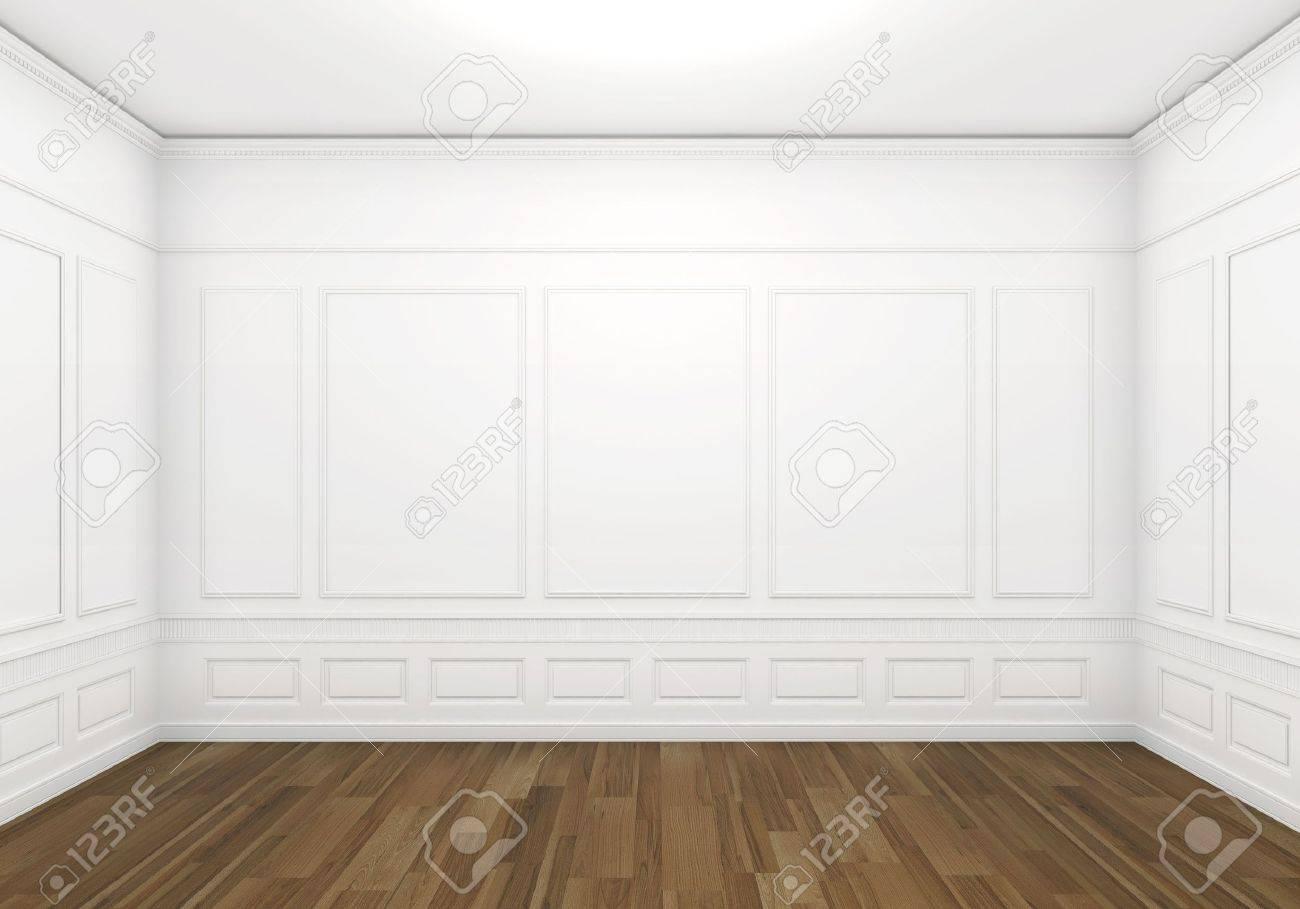 Chambre vide blanc classique avec plancher de bois, vue frontale ...