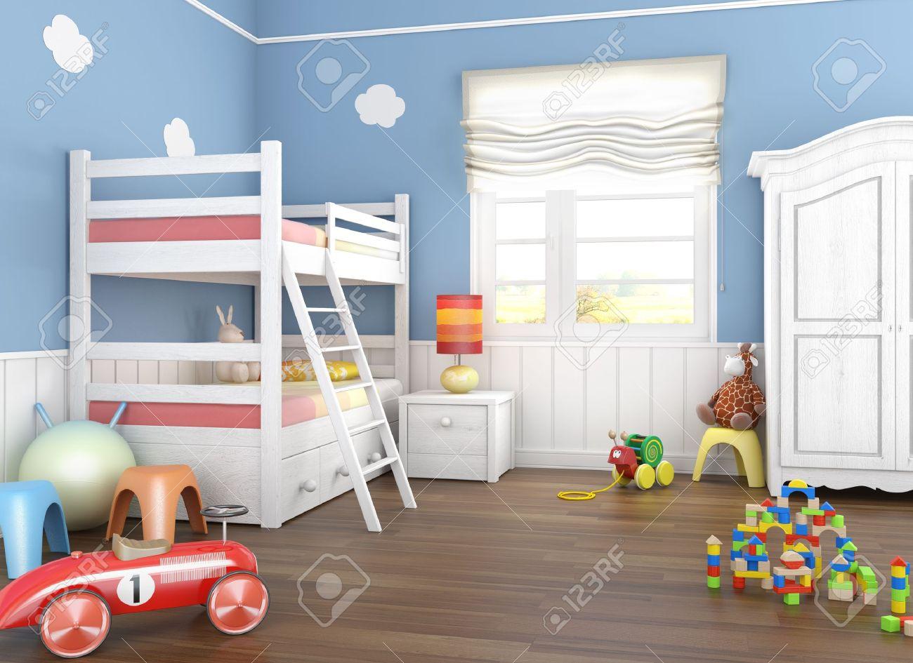 Kinder kamer in blauwe muren met stapel bed en een heleboel speel ...