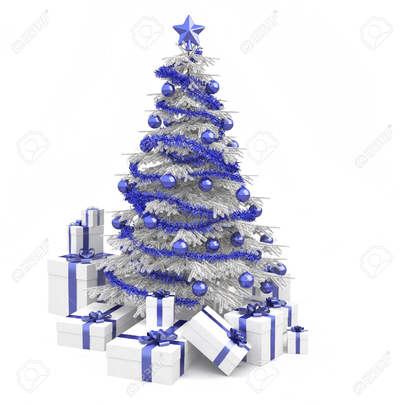 fully decorated christmas tree in blue and white colors with many presents and isolated on white