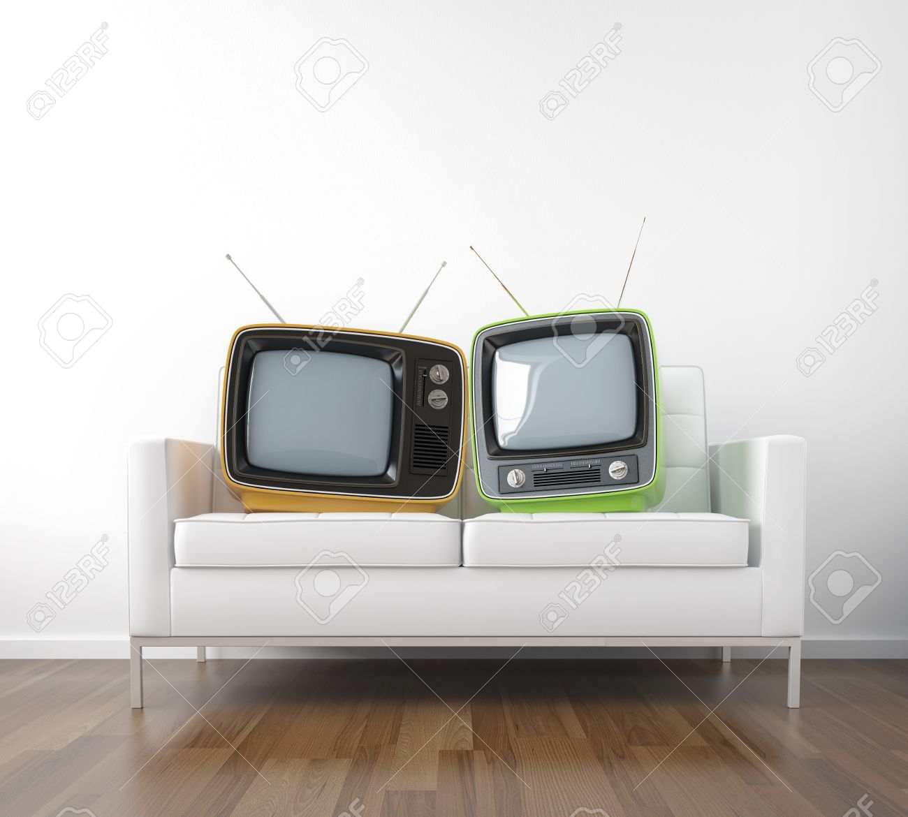 two retro tv in a couch as a metaphor of couple watching television conceptual scene with copy space Stock Photo - 8325227