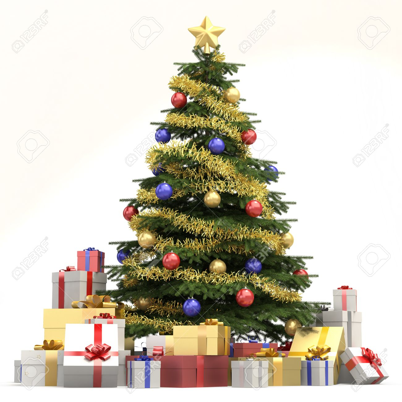 fully decorated christmas tree with many presents and isolated on white background stock photo 8350442