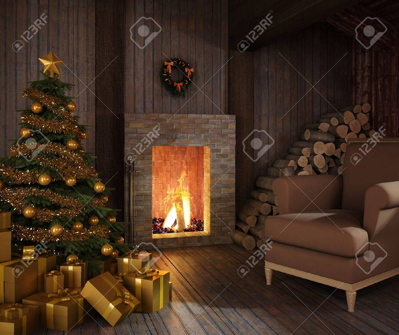 rustic christmas fireplace at night with tree presents and couch