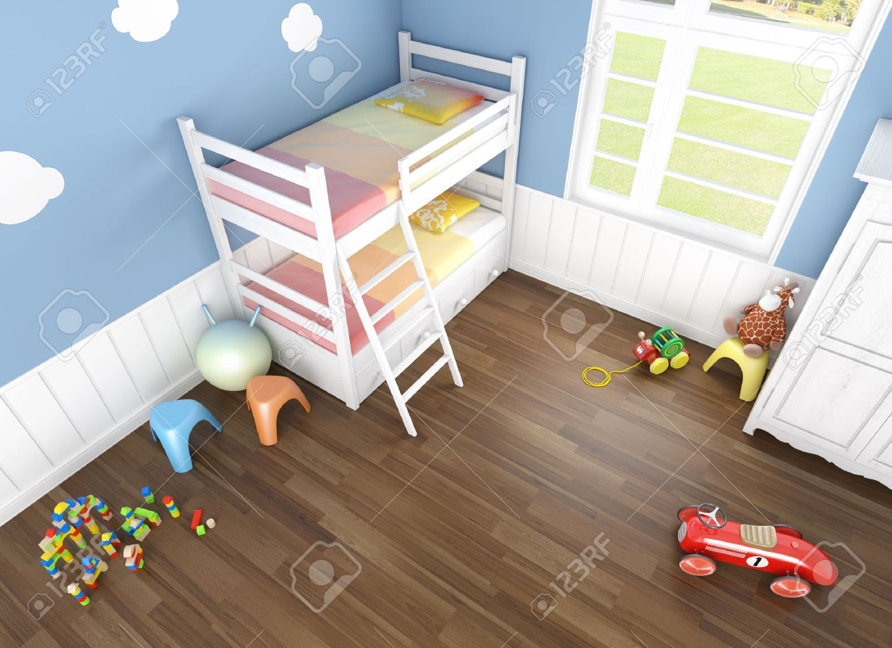 children\'s bedroom in blue walls with bunk bed and lots of toys..