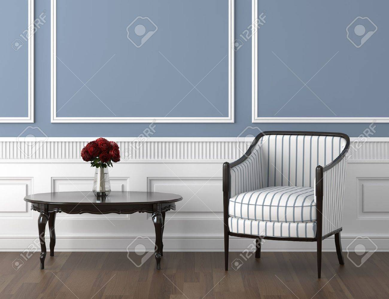 interior design of classis room in blue and white with chair