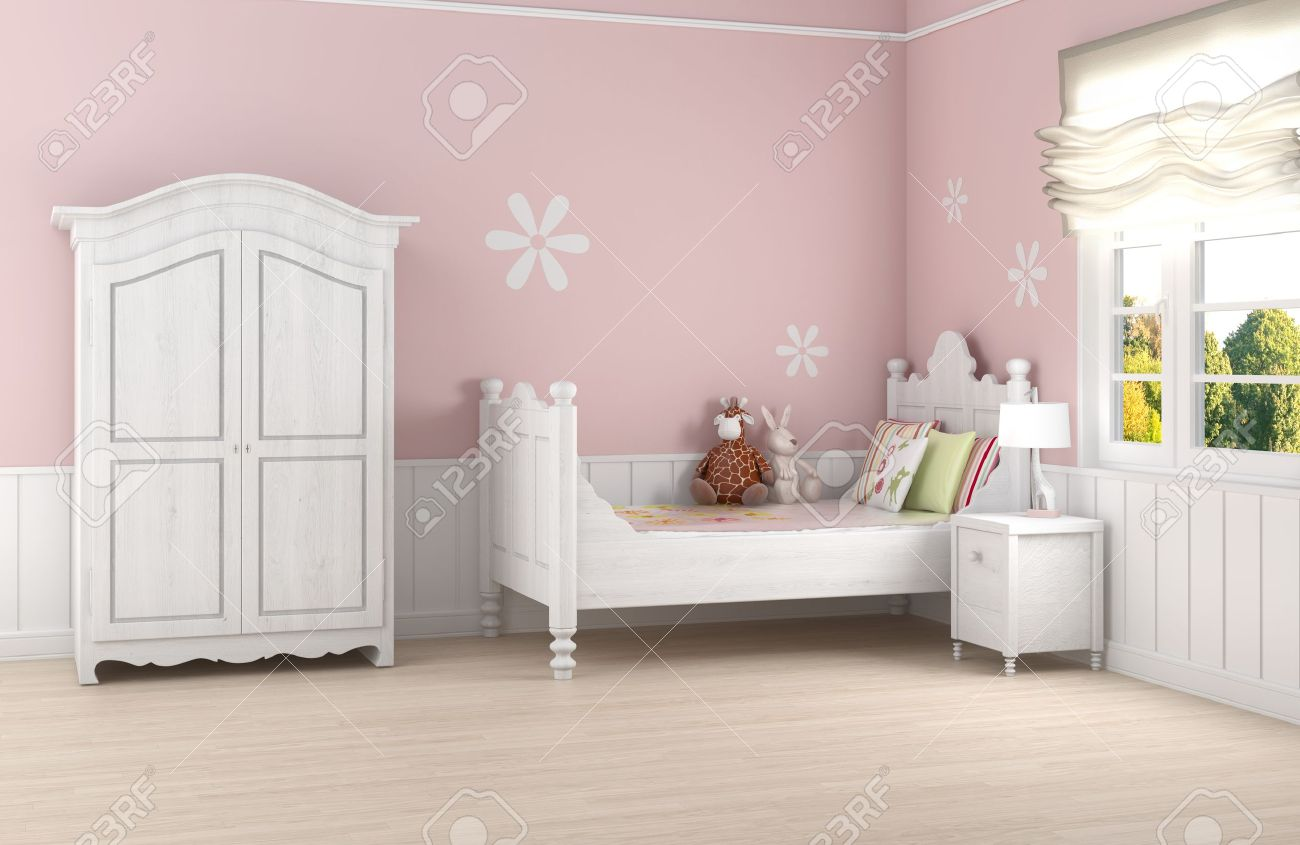 Girl's room in pink walls with white bed and wardrobe Stock Photo - 9157915