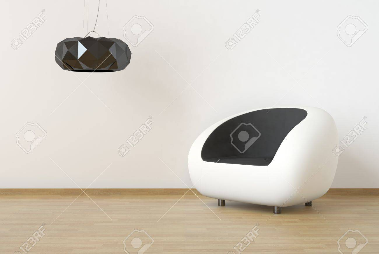 interior design scene with white and black furniture on a clean wall Stock Photo - 9384135