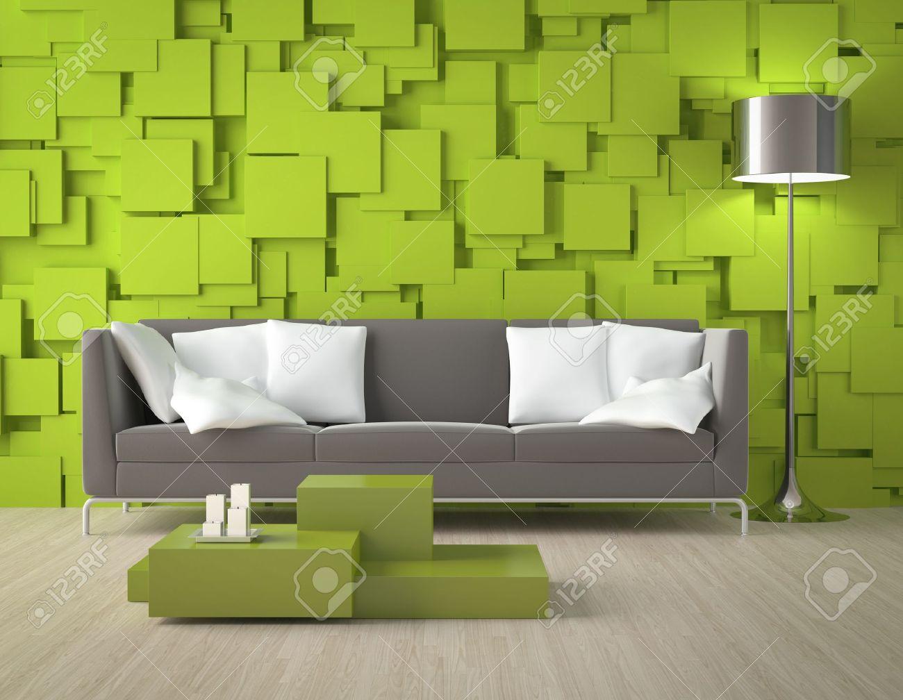 Interior design eine moderne innenraum mit grünen wand aus blöcken ...
