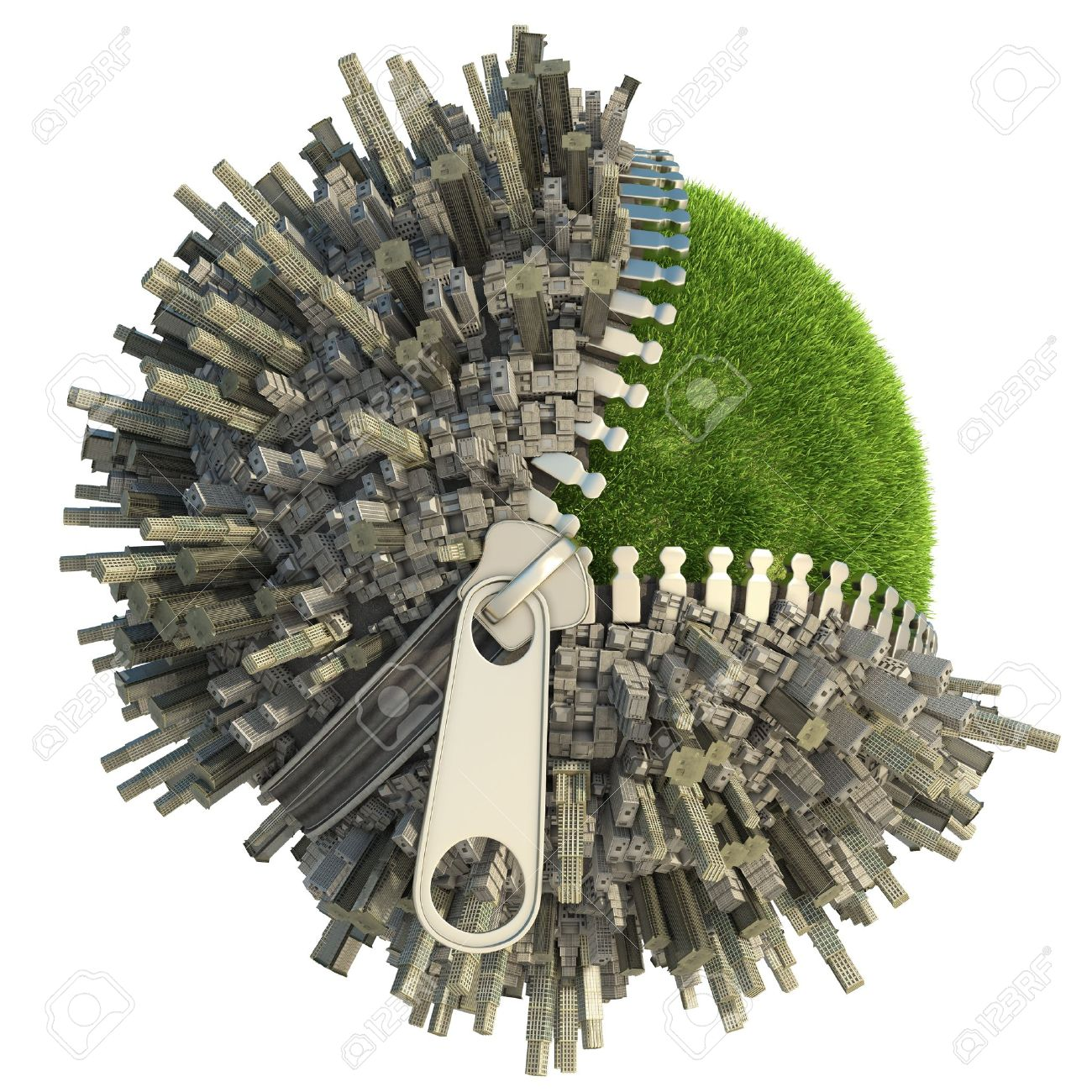 conceptual miniature planet with an open zip fastener for environmental change isolated on white Stock Photo - 9596821