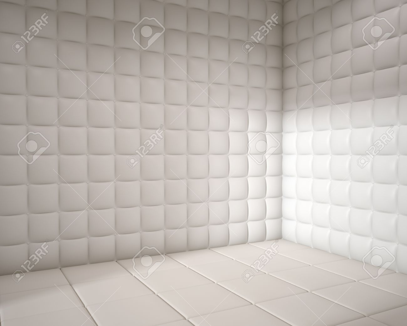 White Mental Hospital Padded Room Empty With Copy Space Stock Photo ...