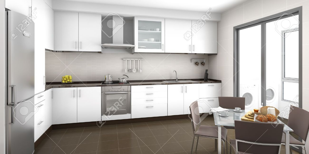 Scena Interni Di Una Cucina Bianca E Marrone, Con Un Tavolo Della ...