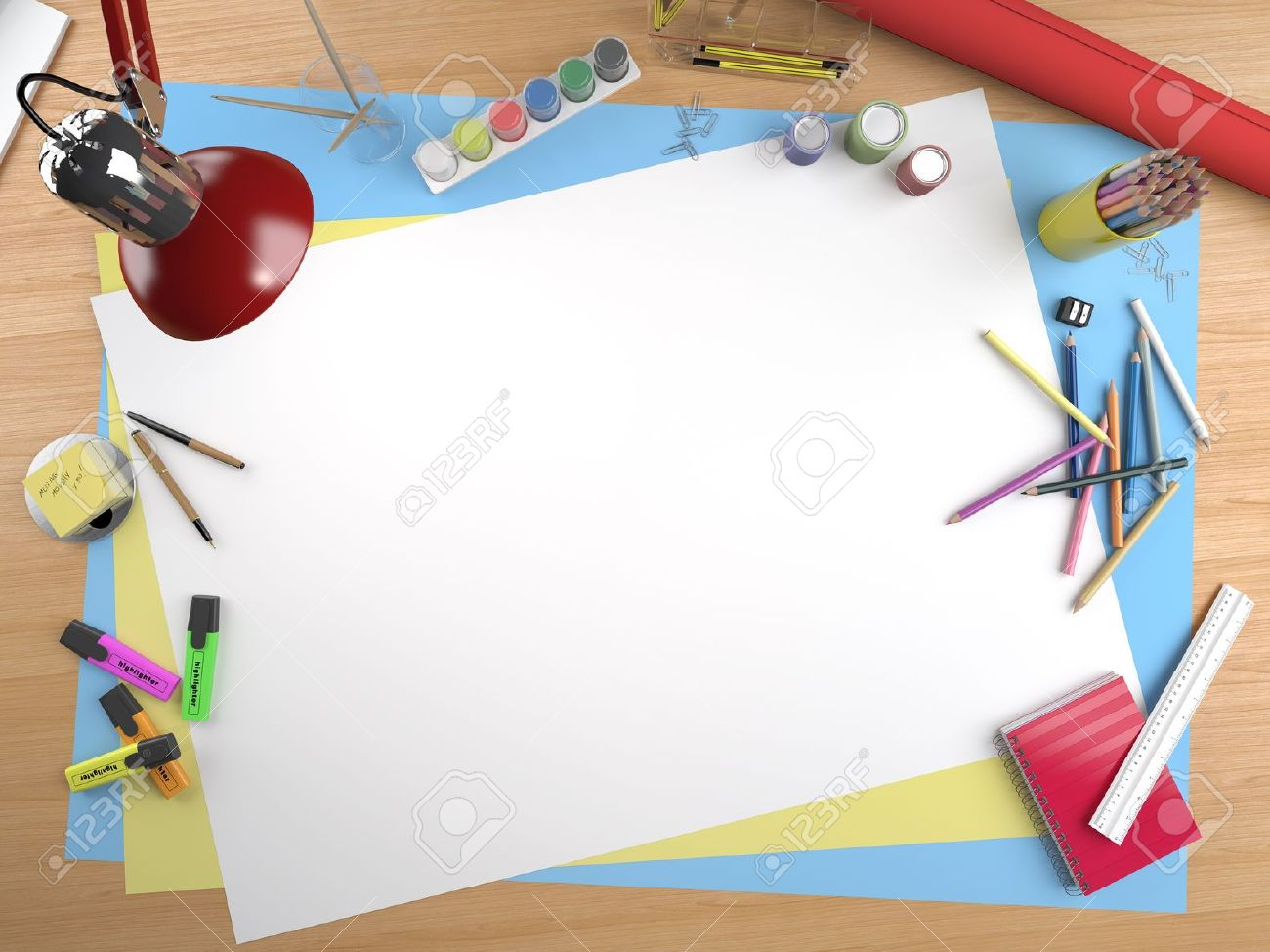 White Canvas On A Drawing Table With Lots Of Stationery Objects ...