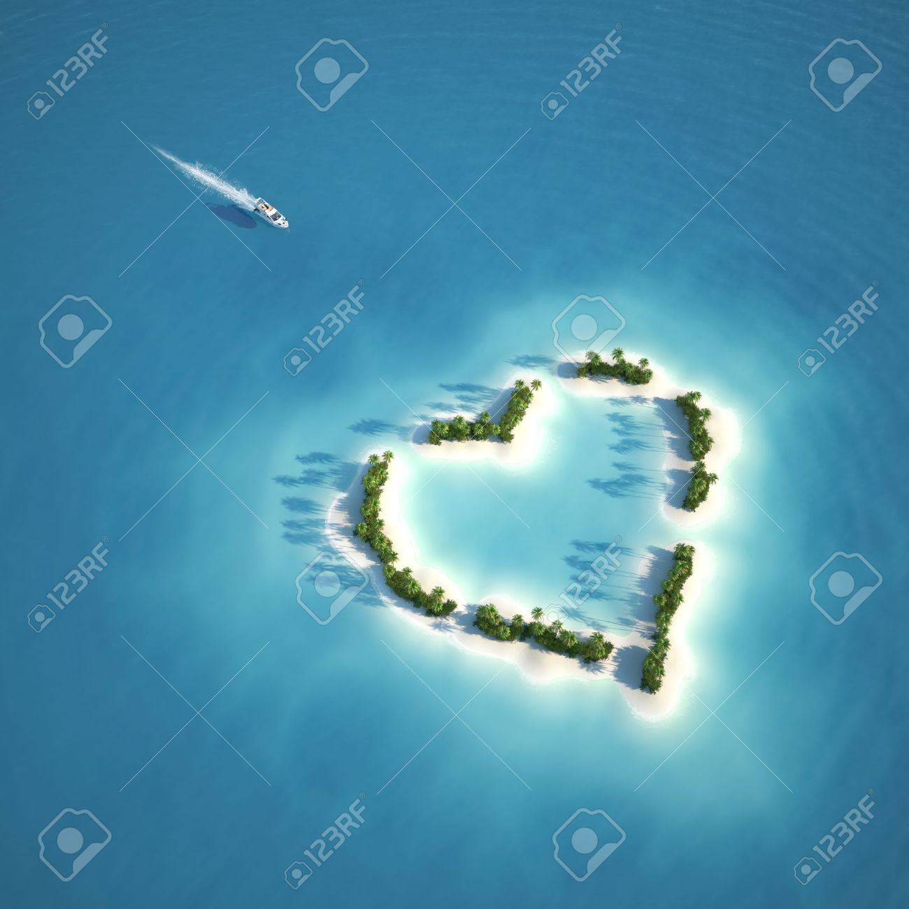 yacht heading to heart shaped island seen from the air concept for romantic vacation or valentines Stock Photo - 11755384