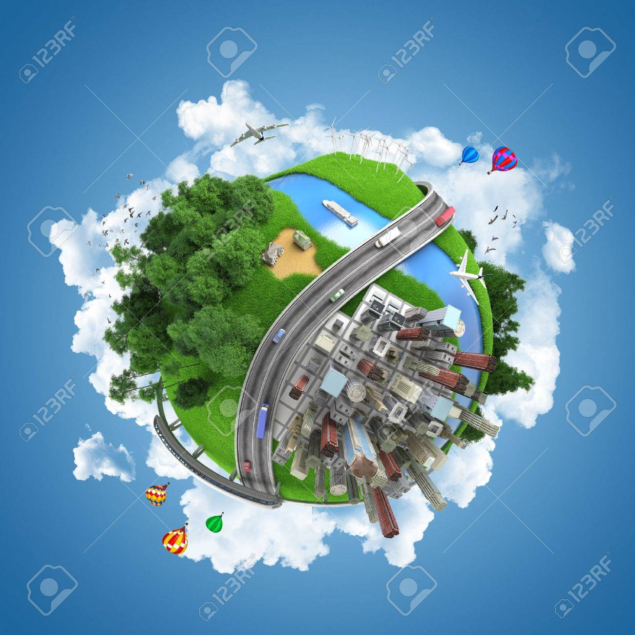 globe concept showing the various modes of transport and life styles in the world Stock Photo - 14182000