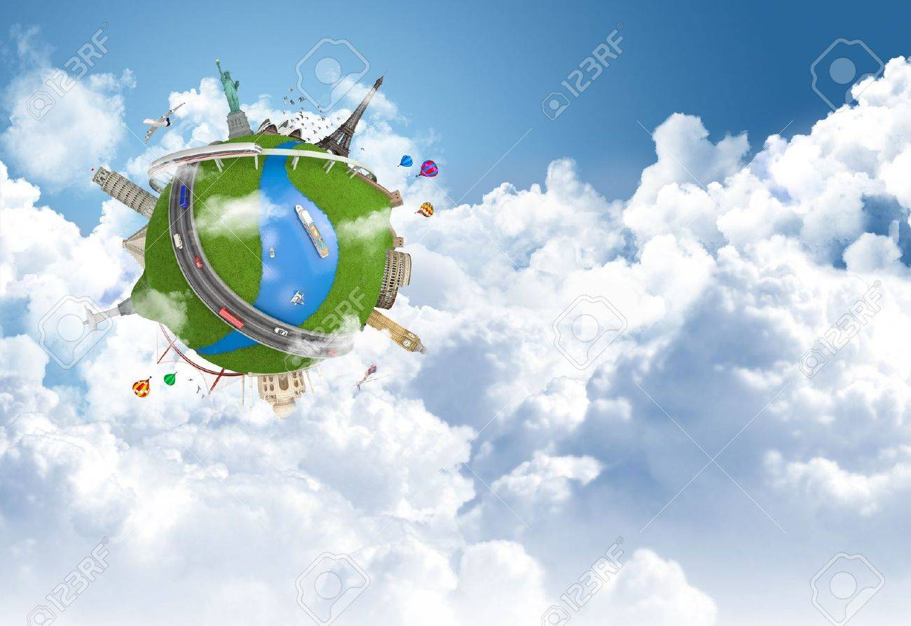 world travel globe concept with landmarks flying above the clouds Stock Photo - 14181996