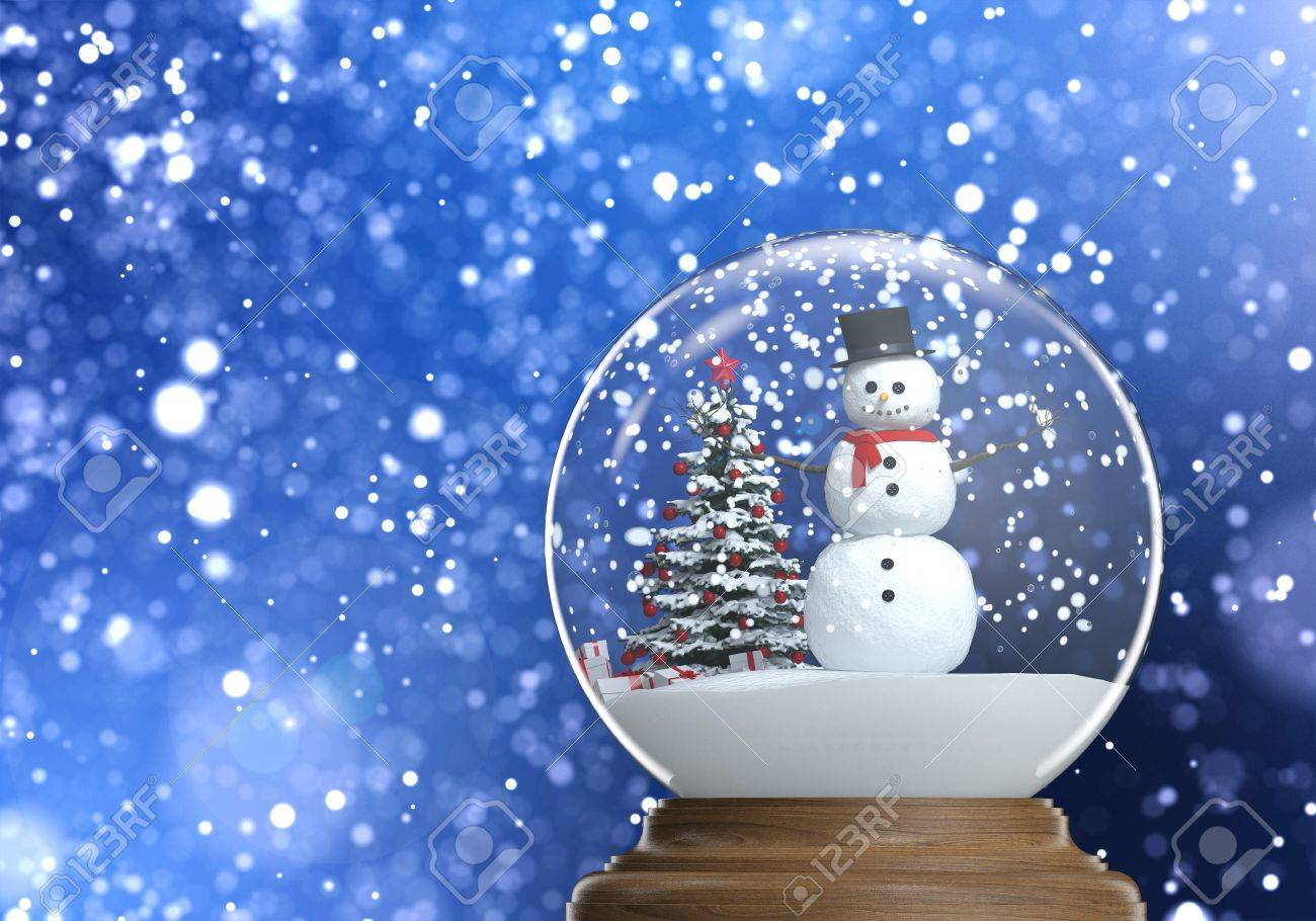 snowglobe with snowman and christmas tree inside on a blue snowy defocused background copy space Stock Photo - 15558250