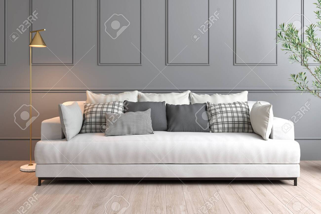 3D Rendering Of Interior Design With Grey Wall, White Sofa And.. Stock Photo, Picture And Royalty Free Image. Image 139621303.