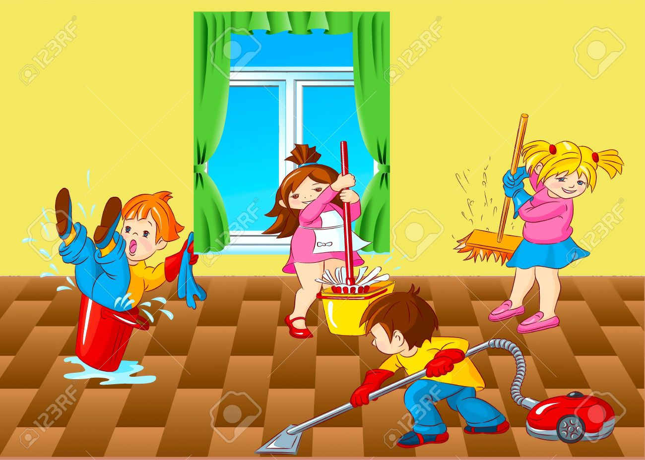 Kids Cleaning Up Room Clipart