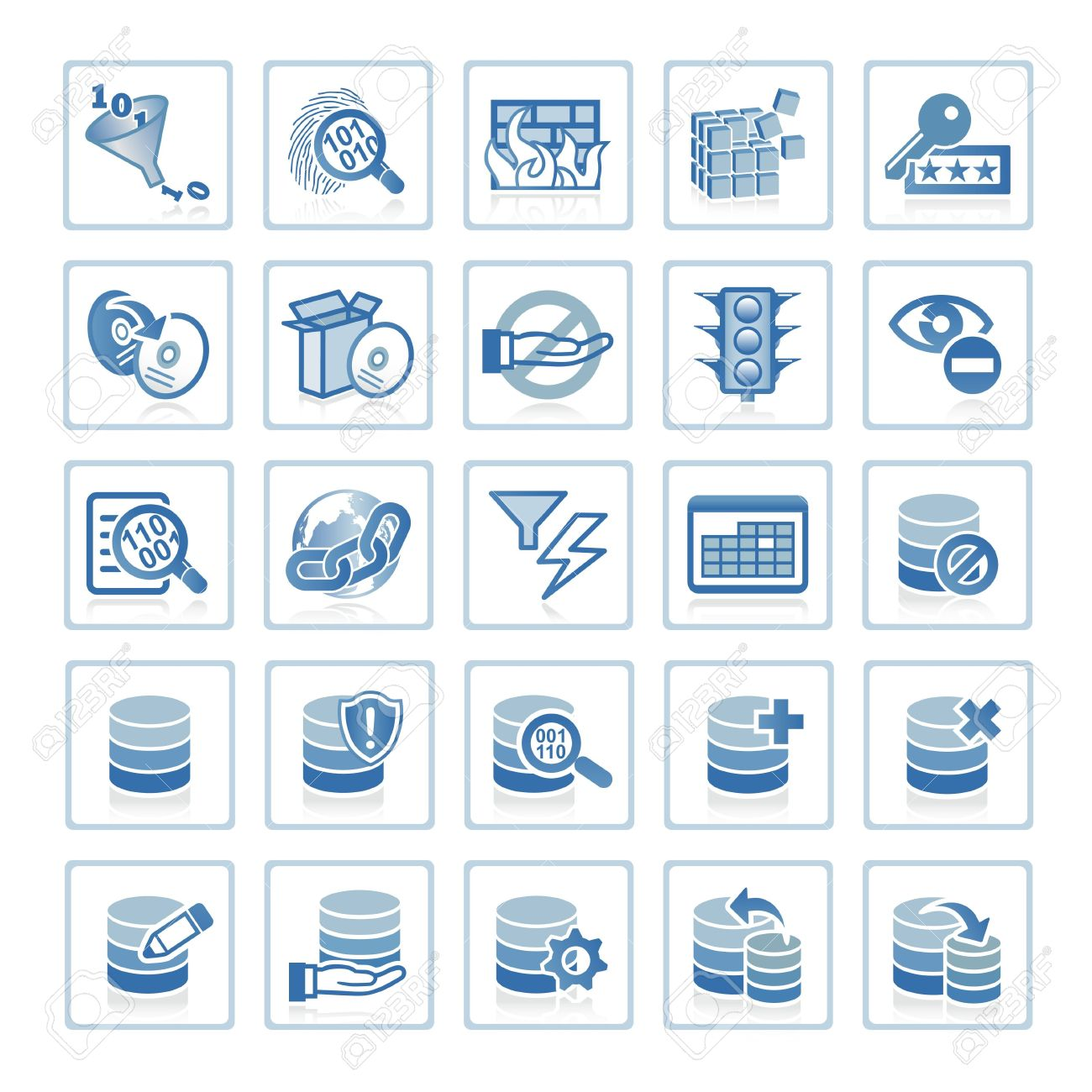 Web icons : Internet Security and Database Management Stock Photo - 6399098