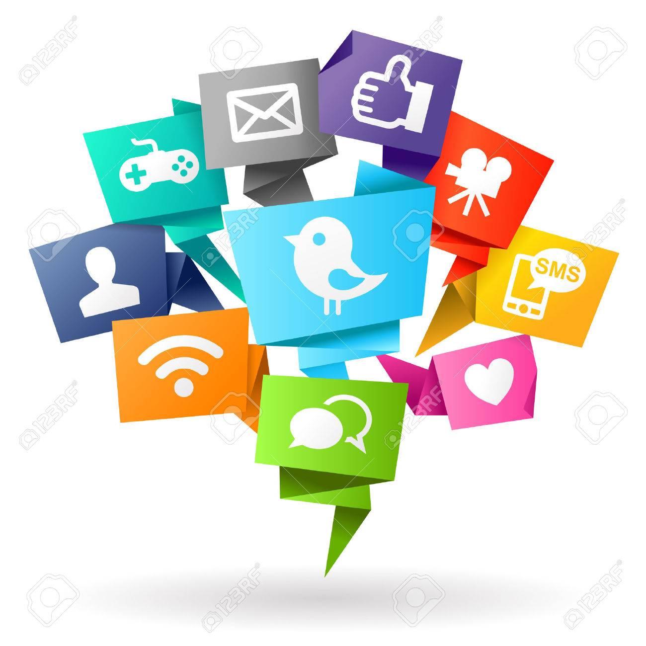 Social media Origami Stock Photo - 27585910