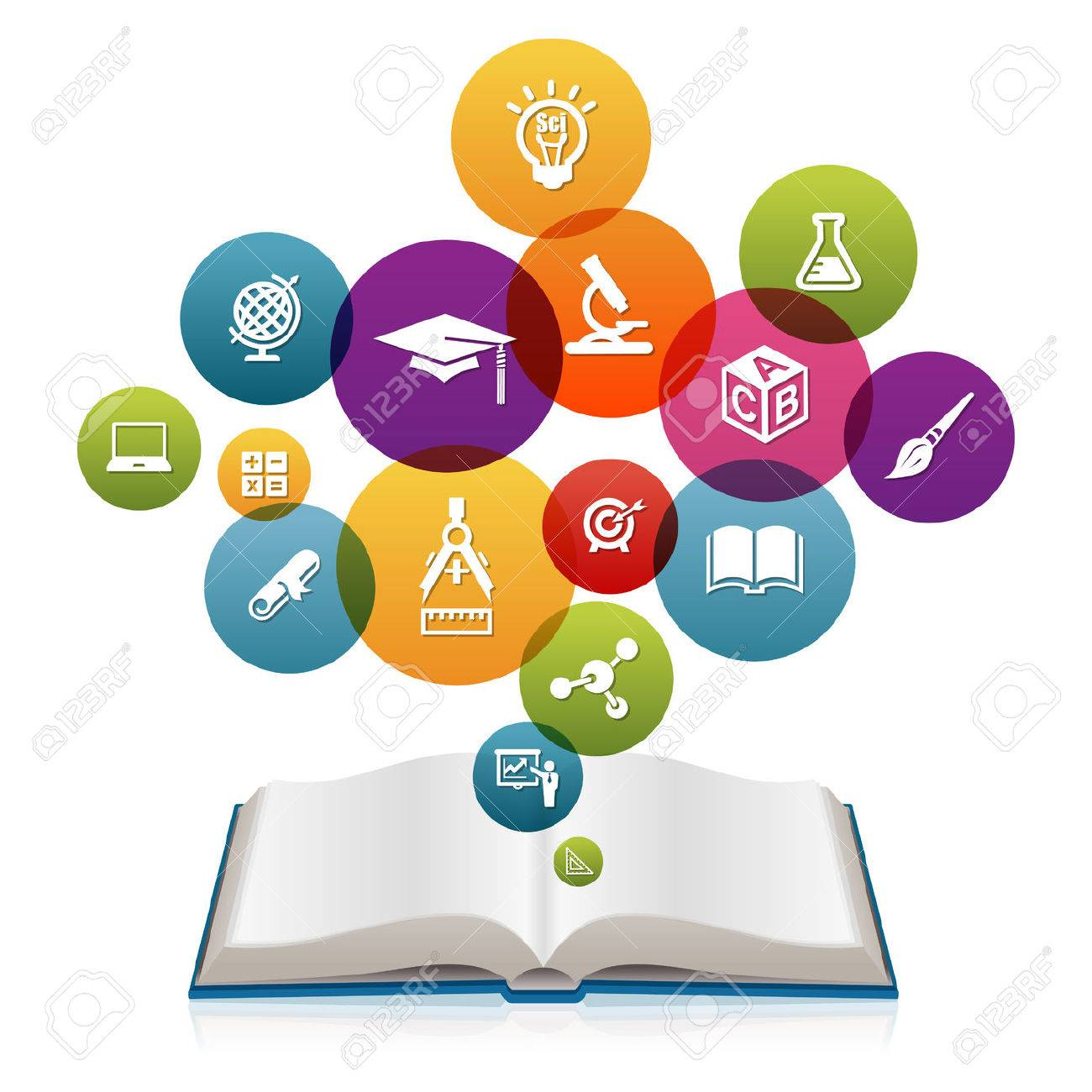Open book with Education icons Stock Photo - 43199811