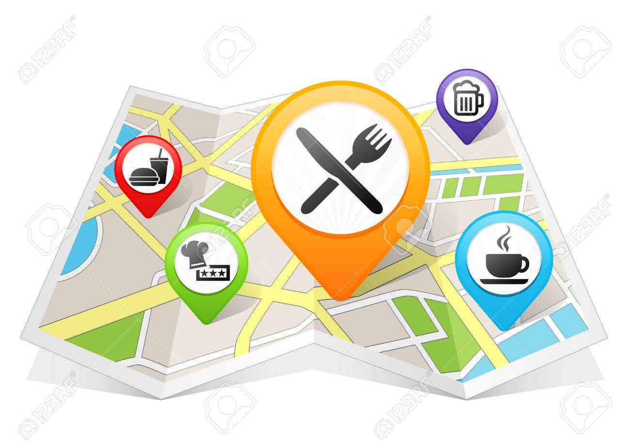 Restaurant And Cafe Bar Map Pointer Location Destination On Stock Photo