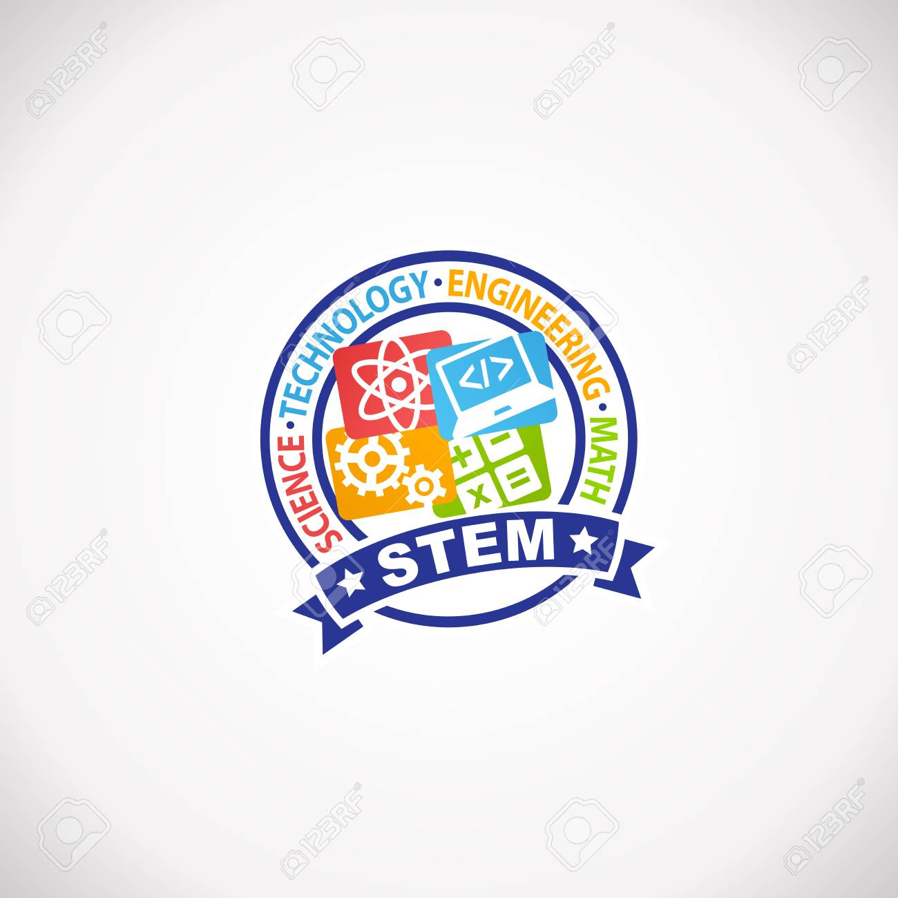 Stem Education Rubber Stamp Logo Science Technology Engineering Royalty Free Cliparts Vectors And Stock Illustration Image 96312527