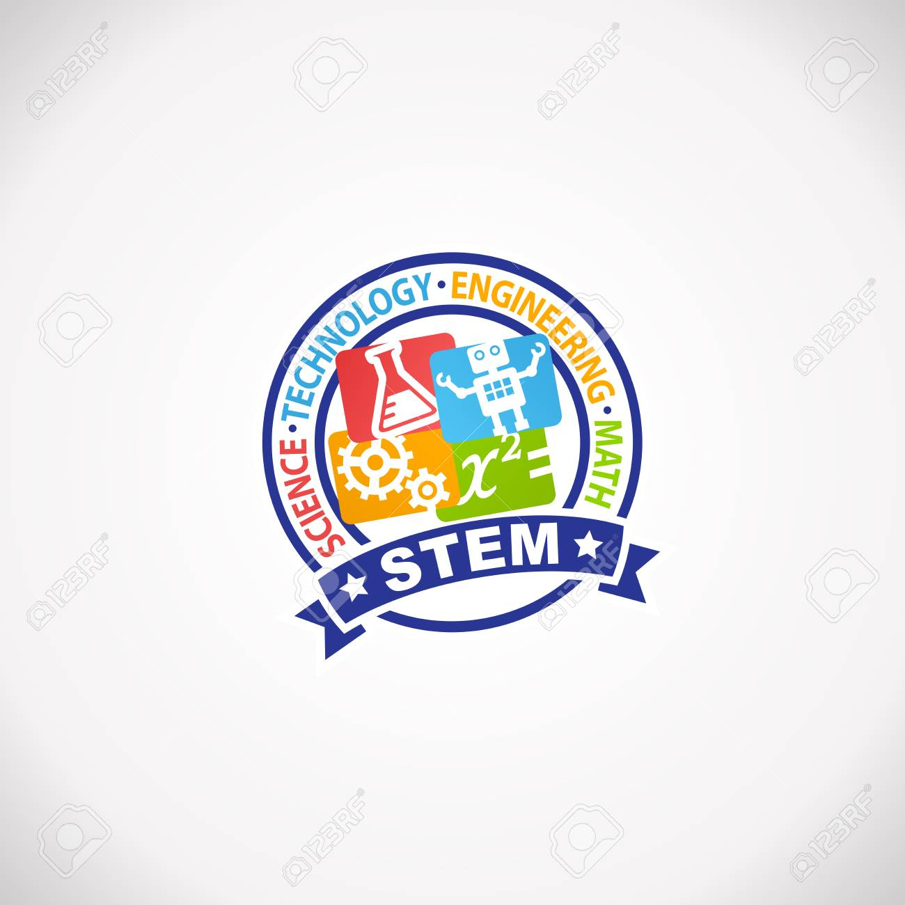 Stem Education Rubber Stamp Logo Science Technology Engineering Royalty Free Cliparts Vectors And Stock Illustration Image 96312531