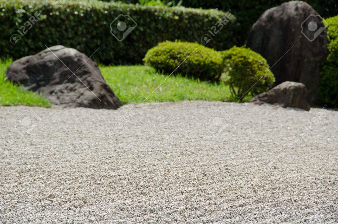 Merveilleux Stock Photo   Stone Garden Of Zen Buddhism In Japan With Gravel Big Stones  And Grass