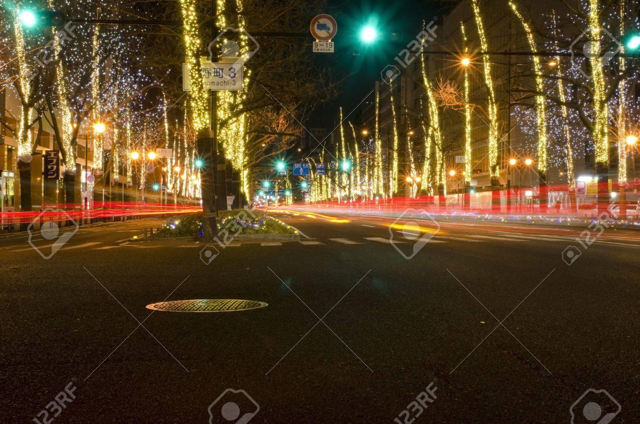 Vue De La Rue Mido Suji A Osaka La Nuit En Decembre Avec Des