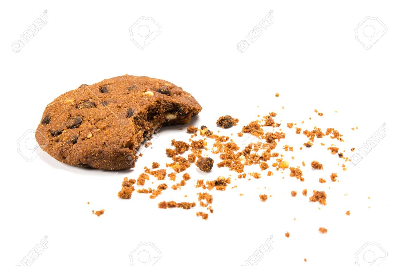 A bitten cookie with crumbs, isolated on white - 39537822
