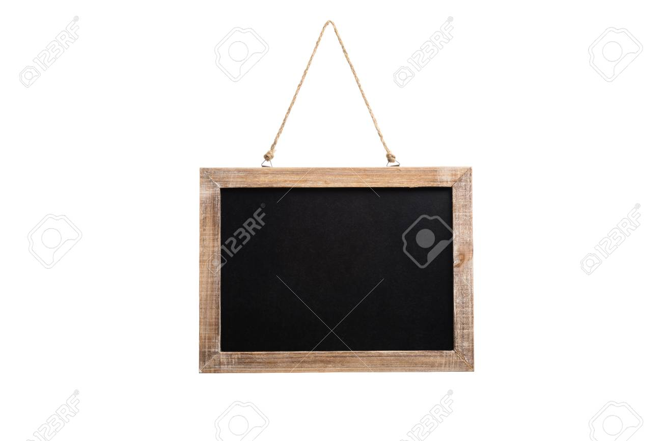 Blank Vintage Chalkboard With Wooden Frame And Rope For Hanging ...