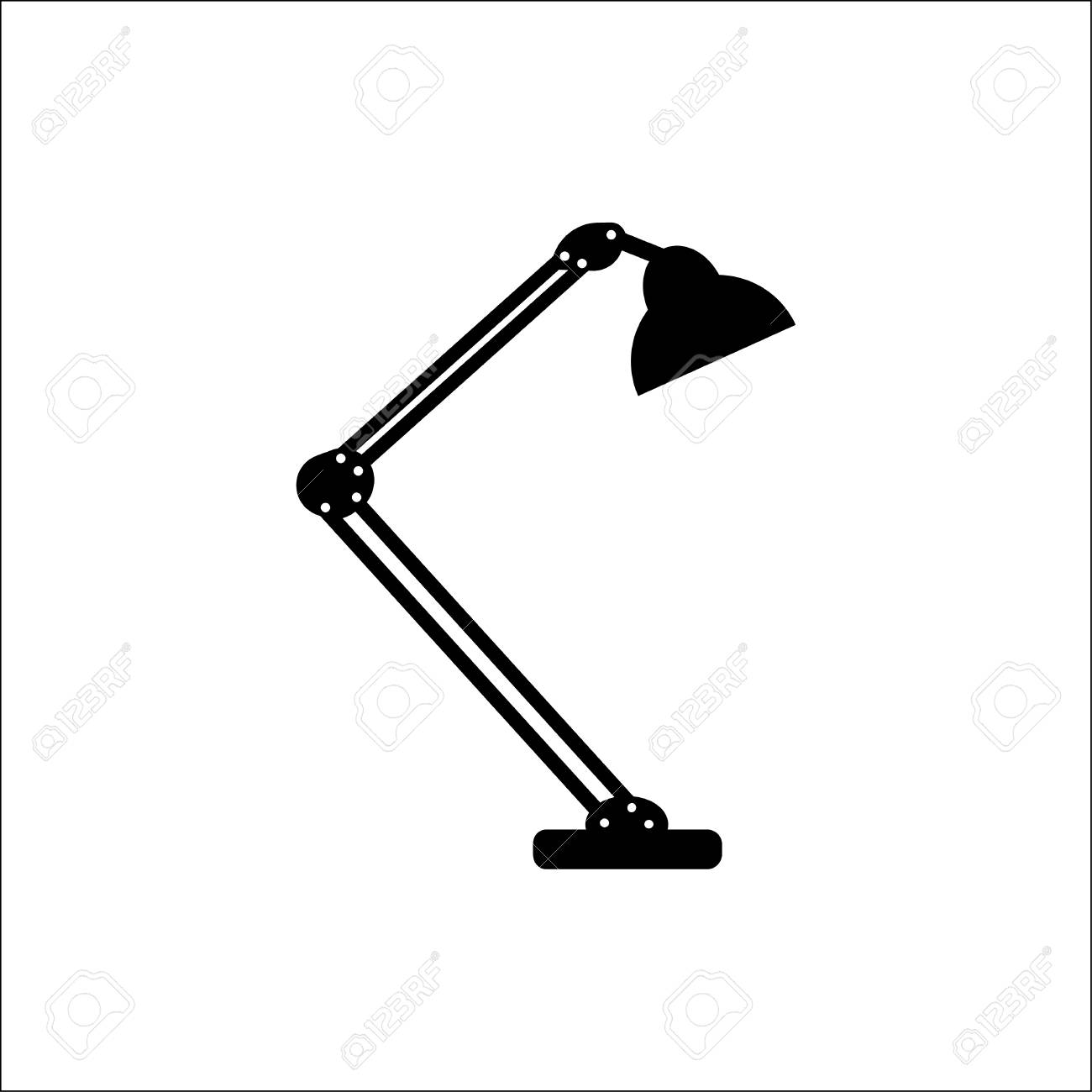Table Lamp Modern Desk Lamp Vector Icon Royalty Free Cliparts