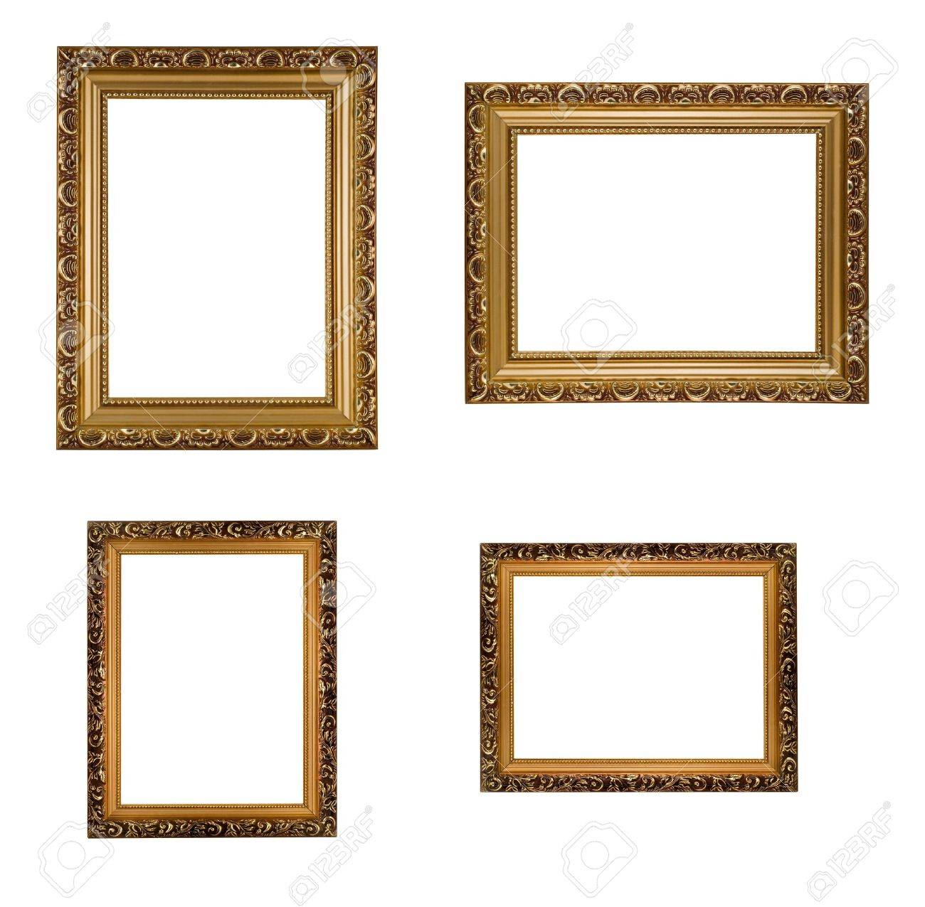 Collage Of Carved Vertical And Horizontal Golden Wooden Frames ...