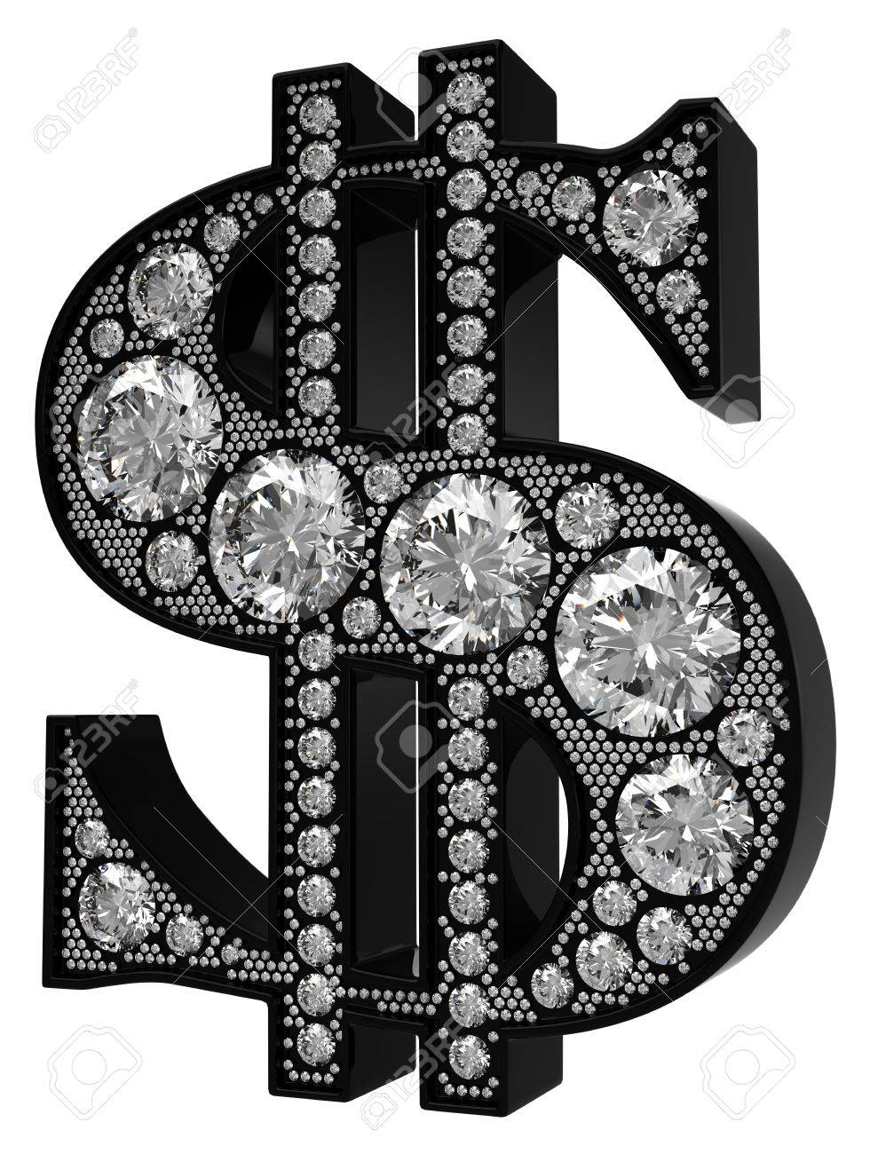 3D Dollar symbol incrusted with diamonds isolated over white. Extralarge resolution. Other gems are in my portfolio. Stock Photo - 7232505