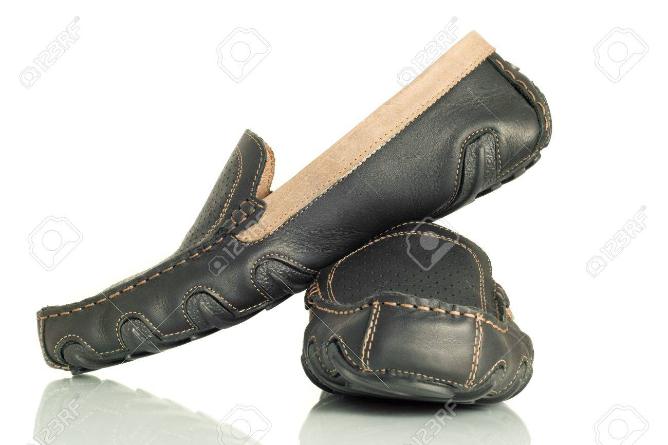 Modern Black Mens Shoes Moccasins Over White Stock Photo, Picture ...