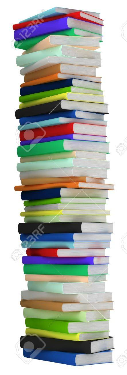 Education and wisdom. Tall heap of hardcovered books isolated over white. Extralarge resolution Stock Photo - 7494797
