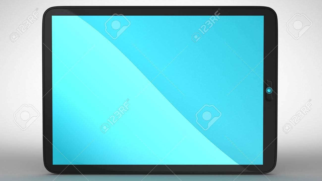 Horizontal view of modern Tablet PC with blue colored screen. Extralarge resolution. Stock Photo - 7694229