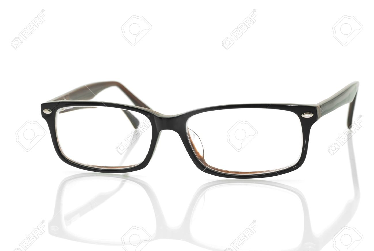modern glasses with reflection over white background stock photo  - modern glasses with reflection over white background stock photo
