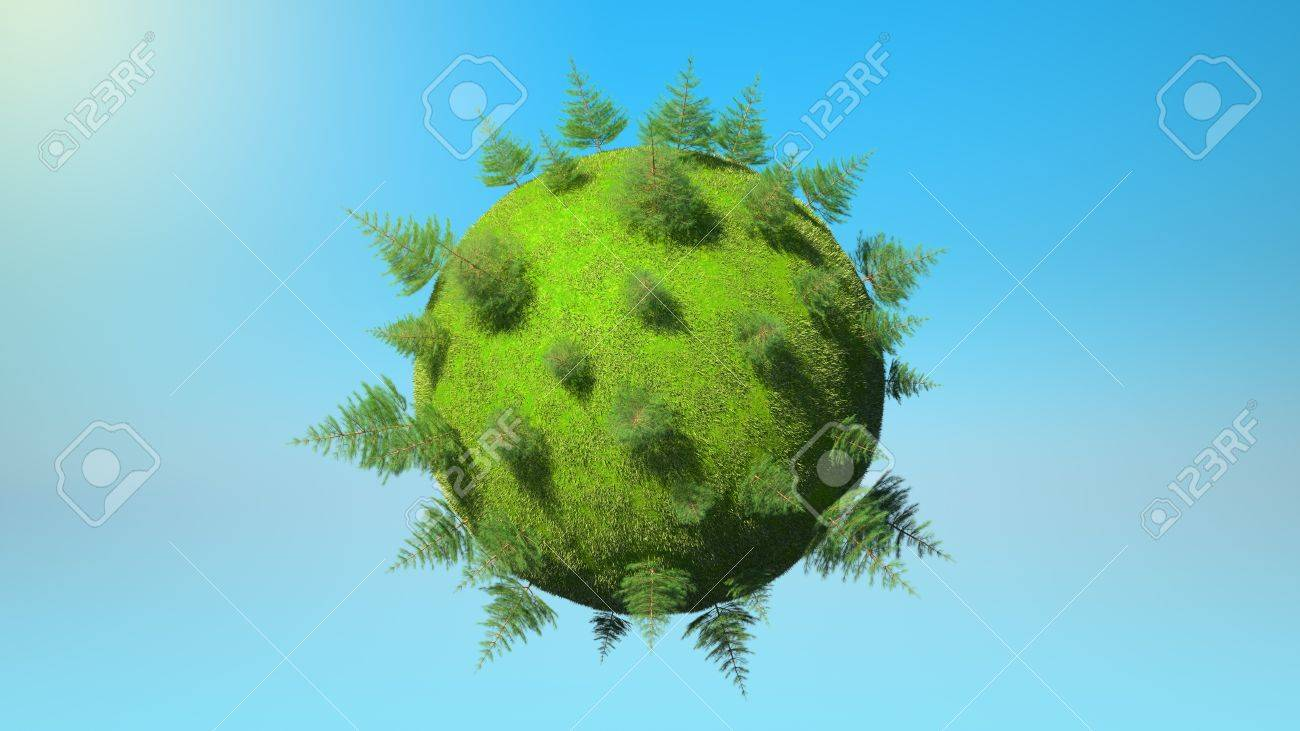Environment concept - Earth planet with firtrees and blue sky. Large resolution Stock Photo - 7843798