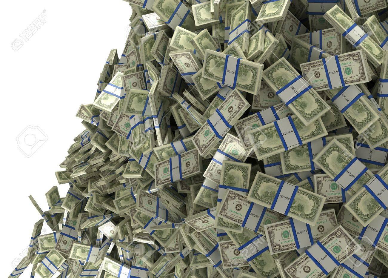 Mucho Dinero Y La Riqueza Paquetes De Dólar Cayendo Aislado En